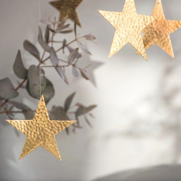 Stars christmas decoration brass